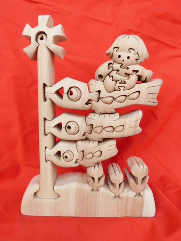 三匹の鯉のぼりと金太郎(250mm×170mm)